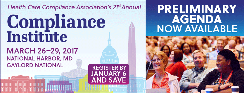 See the Compliance Institute Preliminary Agenda