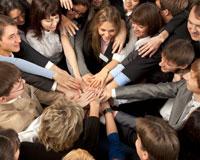 employees huddle